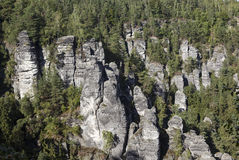 Bastei. Rock formations. Germany. Natural Park Bastei, Saxony, Germany - 7 september, 2015: Complex sandy cliffs, towering above the surface. Between the rocks Stock Image