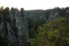 Bastei, Saxon Швейцария, Германия Стоковое Изображение RF
