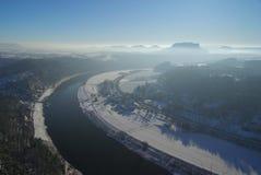 Bastei sikt på floden Elbe upriver Royaltyfria Bilder