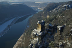 Bastei view on river Elbe downriver. In saxon switzerland, Bastei view on river Elbe downriver Stock Photography
