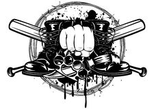 Bastões, botas, faca e manopla cruzados Imagem de Stock
