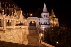 Bastião na noite, Budapest do pescador, Hungria Imagens de Stock