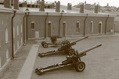 Bastión de Naryshkin con los cañones Sepia Foto de archivo