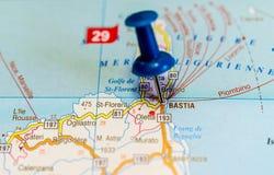 Bastia на карте стоковое изображение