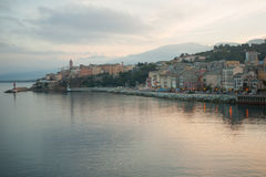 Bastia Sunset. The terra nova and terra vecchia (new and old quarters) at sunset, in Bastia, Corsica, France stock image
