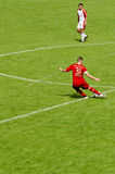 Bastian Schweinstei from Bayern Munich soccer club. Bastian Schweinsteiger from Bayern Munich kicking the ball Stock Images