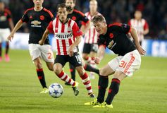 Bastian Schweinsteiger Manchester Unied and  Andrés Guardado PSV Eindhoven Royalty Free Stock Photo