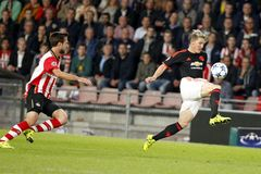 Bastian Schweinsteiger Manchester Unied and Davy Pröpper PSV Eindhoven Royalty Free Stock Photography