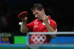 Bastian Steger playing table tennis at the Olympic Games in Rio 2016. Bastian Steger from Germany playing table tennis  at the Olympic Games in Rio 2016 Stock Images