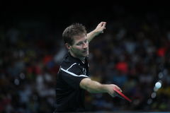 Bastian Steger playing table tennis at the Olympic Games in Rio 2016. Bastian Steger from Germany playing table tennis  at the Olympic Games in Rio 2016 Royalty Free Stock Images