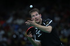 Bastian Steger playing table tennis at the Olympic Games in Rio 2016. Bastian Steger from Germany playing table tennis  at the Olympic Games in Rio 2016 Stock Photos