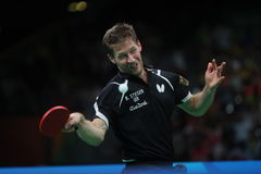 Bastian Steger playing table tennis at the Olympic Games in Rio 2016. Bastian Steger from Germany playing table tennis  at the Olympic Games in Rio 2016 Stock Photo