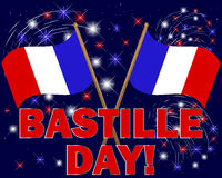 Bastille Day background. Bastille Day. Celebratory background with fireworks and flags. vector illustration stock illustration
