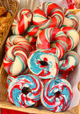 Bastille Day Bagels. Bagels with red, blue and white food coloring in celebration of Bastille Day seen during NYC street fair Stock Image