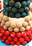 Bastille Day Cake. Cake made with French pastry balls with the colors of the France flag in honor of Bastille Day Stock Images