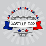 Bastille Day card. Stars, Bastille fortress,. Bastille Day card. Stars with France Flag Colors, Bastille fortress behind a tricolour ribbon and sign with the vector illustration
