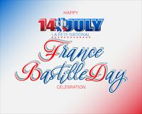 Bastille day, Celebration of France. Holiday design, background with handwriting and 3d texts, national flag colors for Fourteenth of July, Bastille day, France royalty free illustration