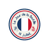 Bastille Day celebration stamp. With flag of France over white background Royalty Free Stock Photo