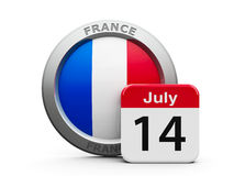 The Bastille Day. Emblem of France with calendar button - The Fourteenth of July - represents national french holiday - The Bastille Day, three-dimensional Royalty Free Stock Photography