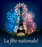 Bastille day fireworks Royalty Free Stock Photos