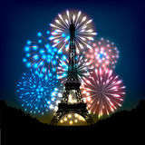 Bastille day fireworks. In colors of french flag and silhouette of eiffel tower Stock Photos