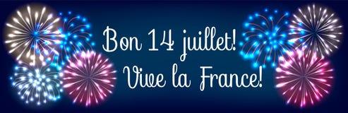 Bastille day fireworks. Web banner for Bastille day fireworks in colors of french flag Stock Images
