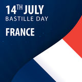 Bastille day of France. Flag and Patriotic Banner. Stock Photo