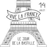 Bastille Day. French National Holiday. The lower part of the Eiffel Tower in scale. Black and white. Bastille Day. July 14. Concept of French national holiday royalty free illustration