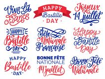 Bastille Day handwritten phrases. Calligraphy of Joyeux 14 Juillet etc. translated from french Happy 14th July etc. Bastille Day handwritten phrases Royalty Free Illustration