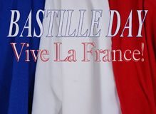 Bastille Day. Horizontal image of draped blue, white and red fabric to celebrate the French holiday, Bastille Day, on July 14th royalty free stock photos