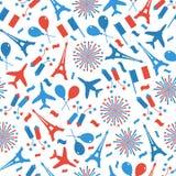 Bastille Day, Independence Day of France, symbols. Seamless pattern with symbol of celebration. Bastille Day, Independence Day of France, symbols. Seamless stock illustration