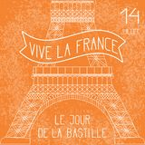 Bastille Day. French National Holiday. The lower part of the Eiffel Tower in scale. Grunge background. Orange and white. Bastille Day. July 14. French national stock illustration