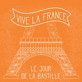Bastille Day. French National Holiday. The lower part of the Eiffel Tower in scale. Grunge background. Orange and white. Bastille Day. July 14. French national royalty free illustration