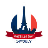 Bastille day. 14 July. Paris. Tourism. Eiffel Tower. France. Modern flat design. Bastille day. 14 July. Paris. Tourism. Eiffel Tower France Modern flat design stock illustration