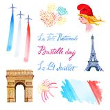 Bastille day set. Hand drawn watercolor illustration of Marianne. Eiffel tower, Triumphal Arch, flag of France, fireworks and greeting texts `14 of July`, ` vector illustration