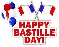 Bastille Day stickers. Bastille Day stickers with flags and balloons. Vector illustration stock illustration