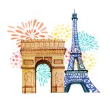 Bastille day. 14th of  July. French National day greeting card and poster design. Hand drawn watercolor illustration with Triumpha. L Arch, Eiffel tower and Stock Images