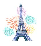 Bastille day. 14th of  July. La Fete Nationale. French National day greeting card and poster design. Hand drawn watercolor illustr. Ation with Eiffel tower and Stock Image