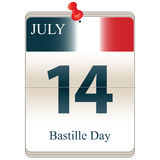 Bastille Day. Vector of the date white block calendar Bastille Day, July 14th Royalty Free Stock Images