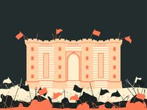 Bastille fortress. The battle for the castle. Medieval battlefield. Flags, swords, spears and arrows. Vector Stock Photo