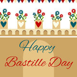 Bastille fortress with flowers for Bastille day. Bastille fortress with flowers and hearts for Bastille day Stock Illustration