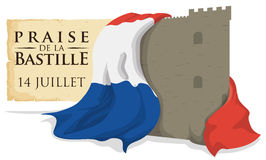 Bastille Fortress with France Flag and Scroll Remembering the Storming, Vector Illustration. Bastille fortress wrapped with France flag and a scroll reminder at Royalty Free Stock Images
