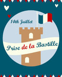 Bastille fortress with French flag for Bastille day. Bastille fortress with French tricolour flag for Bastille day Royalty Free Stock Photography
