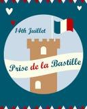 Bastille fortress with French flag for Bastille day. Bastille fortress with French tricolour flag for Bastille day Vector Illustration