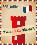 Bastille fortress with French flag for Bastille day. Bastille fortress with French tricolour flag for Bastille day Stock Photos