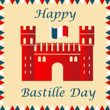 Bastille fortress with French flag for Bastille day. Bastille fortress with French tricolour flag for Bastille day Royalty Free Stock Photo