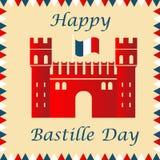Bastille fortress with French flag for Bastille day. Bastille fortress with French tricolour flag for Bastille day Stock Illustration