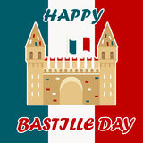Bastille fortress with French flag for Bastille day. Bastille fortress with French tricolour flag for Bastille day Royalty Free Illustration