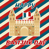 Bastille fortress with French flag for Bastille day. Bastille fortress with French tricolour flag for Bastille day Stock Images