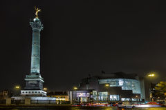 Bastille place. Column and opera of Bastille in Paris, France stock photo